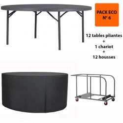 Pack Eco 7 : 12 tables pliantes Q+ ø 180,3 cm + 1 chariot + 12 housses de tables