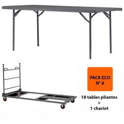 Pack Eco 8 : 18 tables pliantes Q+ 182,9 x 91,4 cm + 1 chariot