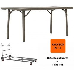 Pack Eco 12: 18 tables pliantes Excellence 182,8 x 76,2 cm + 1 chariot