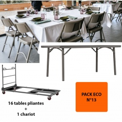 Pack Eco 13 : 16 tables pliantes Excellence 182,9 x 91,4 cm + 1 chariot