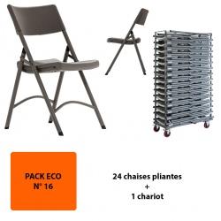 Pack Eco 16 : 24 chaises pliantes polyéthylène Excellence + un chariot
