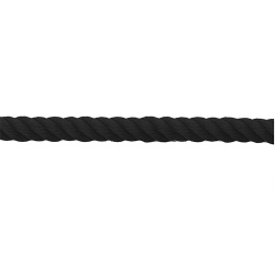 Cordon polypropylène torsadé 2 m noir avec embouts acier finition chromé