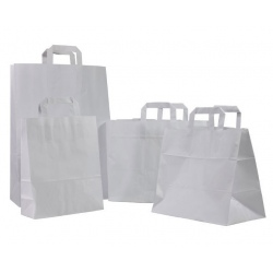 Sacs cabas poignées plates kraft blanc 26+17x25 (le carton de 250)