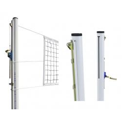 Poteaux de volley acier galva Ø 90mm tension par treuil Classe A (la paire)