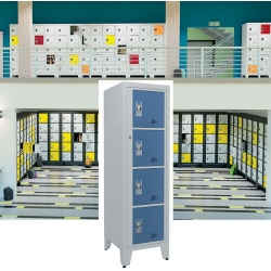 Casiers élèves visitables fermeture moraillon 4 cases H207xL50,2xP55 cm