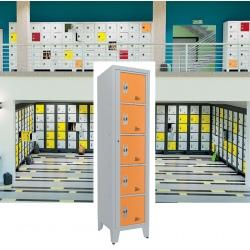 Casiers élèves visitables fermeture moraillon 5 cases H207xL50,2xP55 cm