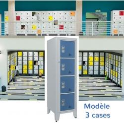 Casiers élèves visitables fermeture moraillon 3 cases H170xL50,2xP55 cm