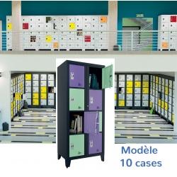 Casiers élèves visitables fermeture moraillon 10 cases H207xL90,2xP55 cm