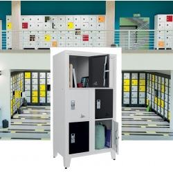 Casiers élèves visitables fermeture moraillon 6 cases H170xL90,2xP55 cm