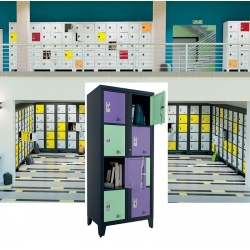 Casiers élèves visitables fermeture moraillon 8 cases H170xL90,2xP55 cm