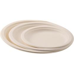 Carton de 1000 assiettes jetable plate Ø 18 cm ivoire fibre végétale biodégradables