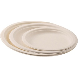Carton de 500 assiettes jetable plate Ø 26 cm ivoire fibre végétale biodégradables