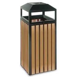 Cendrier corbeille métal et ABS 70 L noir et effet bois