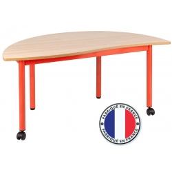 Table maternelle modulable plateau stratifié 21 mm 1/2 rond 120 cm cm T2