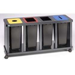 Station tri sélectif quadruple avec poubelle plastique H 67 x L 157 x P 52 cm