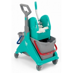 Chariot de lavage compact Nickita 2x15L avec presse vert