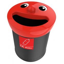 Poubelle de tri sélectif Sourire couvecle rouge déchets plastique 52 L