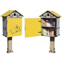 Bibliothèque libre service sur poteau
