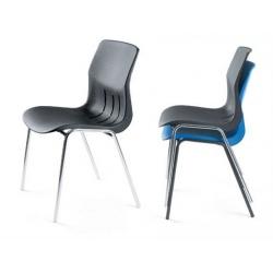 Chaise coque empilable Jeanne M4 pieds chromés ø 22 mm