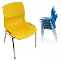 Chaise coque empilable et accrochable Jeanne M2 pieds chromés ø 22 mm