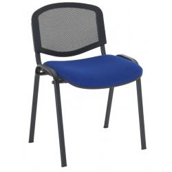 Chaise empilable dos résille assise tissu enduit M2 pieds noirs