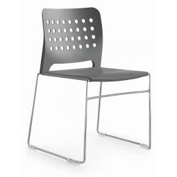 Chaise coque polypropylène empilable Hole pieds chromés
