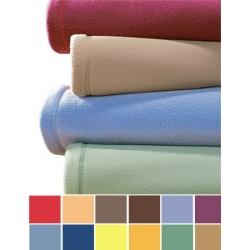 Lot de 10 couvertures unies 240x220 cm 100% polyester maille polaire non feu 320g