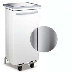 Conteneur mobile à pédale inox brillant 100 litres