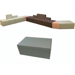 Pouf 2 places Nodal L100 cm tissu 1