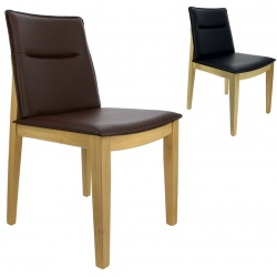 Chaise Stockholm hêtre naturel et simili cuir noir ou marron