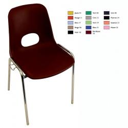 Chaise coque empilable et accrochable Karine M4 pieds chromés ø 18 mm