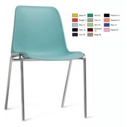 Chaise coque empilable Stéphy M4 pieds chromés ø 18 mm