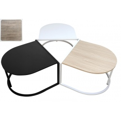 Lot de 4 tables basses empilables Modul avec plateau demi-rond MDF