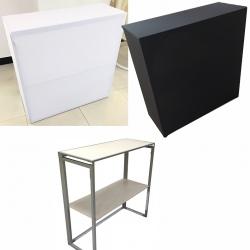 Banque d'accueil pliable compacte avec housse textile L100 x P40 x H100 cm