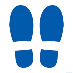 Signalétique adhésif sol 4 paires de pas bleus L15 x H30 cm