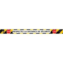 """Signalétique adhésif sol lot de 6 bandes """"RESPECTEZ LA DISTANCE DE SECURITE"""" L70 x H5 cm"""