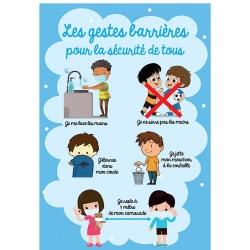 """Signalétique adhésif mur """"LES GESTES BARRIERES"""" pour enfants L45 x H63 cm"""