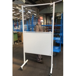 Cloison mobile de protection avec panneau bas L100 x H160 cm