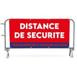 """Bâche PVC pour barrière de police 14 barreaux """"DISTANCE DE SECURITE"""""""