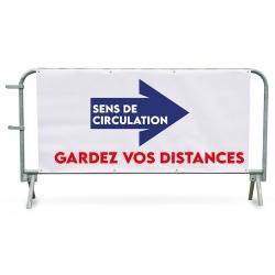 """Bâche PVC pour barrière de police 14 barreaux """"GARDEZ VOS DISTANCE"""""""