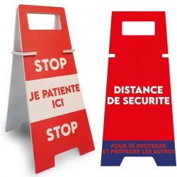 """Panneau de sol """"DISTANCE DE SECURITE"""" uni L26,5 x P35 x H56,5 cm"""