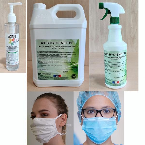 Kit de protection 1 : masques, gel hydroalcoolique, désinfectants