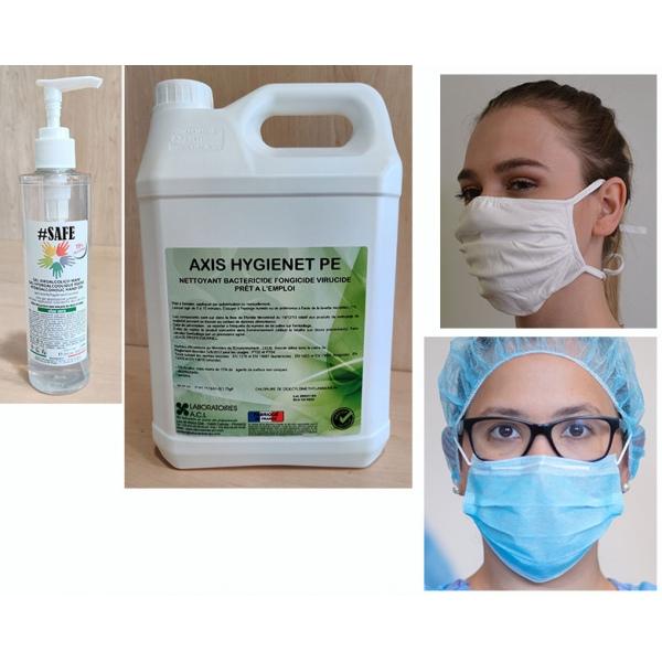 Kit de protection 2 : masques, gel hydroalcoolique, désinfectant