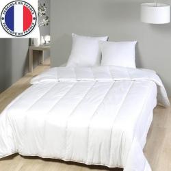 Lot de 5 couettes blanches coton et fibres creuses 450 gr gr 160 x 220 cm