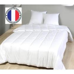 Lot de 4 couettes blanches lavables à 90 coton percale et fibres creuses 400 gr 160 x 220 cm