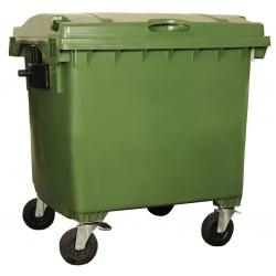 Bac roulant de collecte 100% recyclable 1100 L corps vert couvercle vert