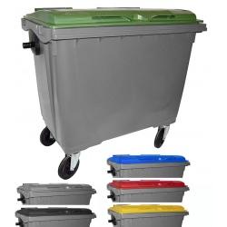 Bac roulant de collecte 100% recyclable 660 L corps gris