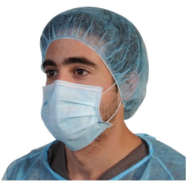 Lot de 1000 masques chirurgicaux 3 plis PLP bleu à élastique