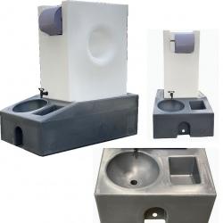 Station lave main nomade eaux propres et eaux usées 130 L finition naturel qualité laboratoire et alimentaire