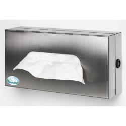 Support distributeur fermé avec clé en inox pour boite de gants ou mouchoirs